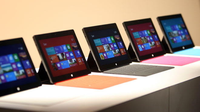 Microsoft Surface Tablets Displayed