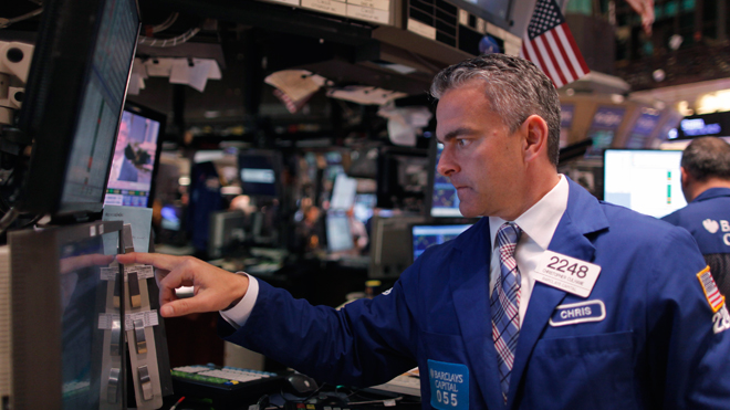 NYSE Trader 096 Pointing at Screen