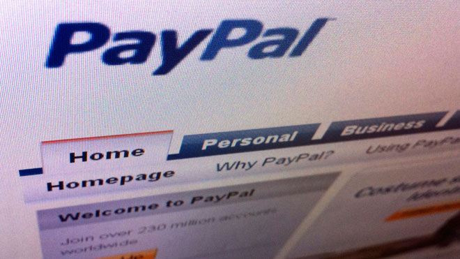 PayPal Website on Screen