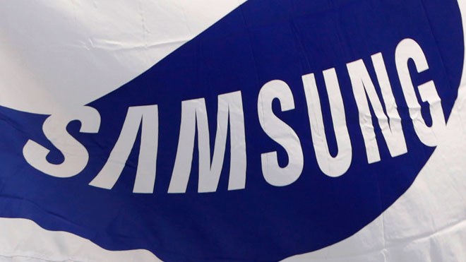 Samsung Logo on Flag at Headquarters