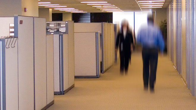 Workers Walk by Office Cubicle