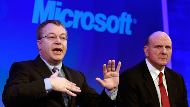 Nokia CEO Stephen Elop With Microsoft CEO Ballmer