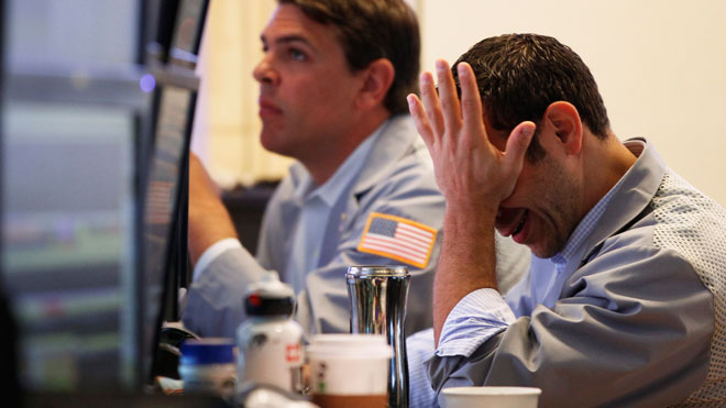 NYSE Trader Head in Hands