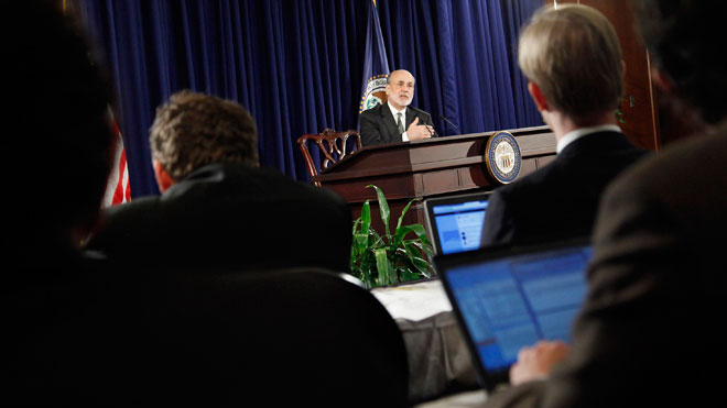 Fed Chairman Ben Bernanke Speaks at Press Event