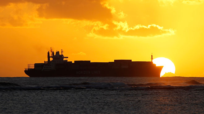 Ship / Cargo / Freighter on Water (Sunset)