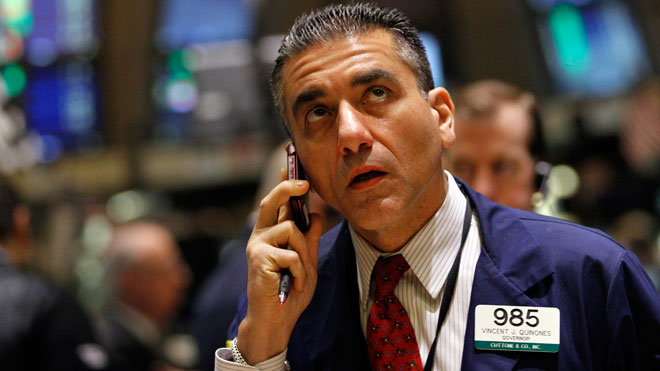 NYSE Trader Anxious on Phone