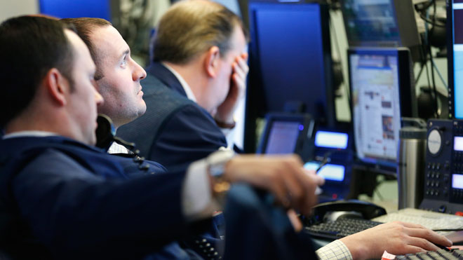 NYSE Traders View Monitors (Unhappy)