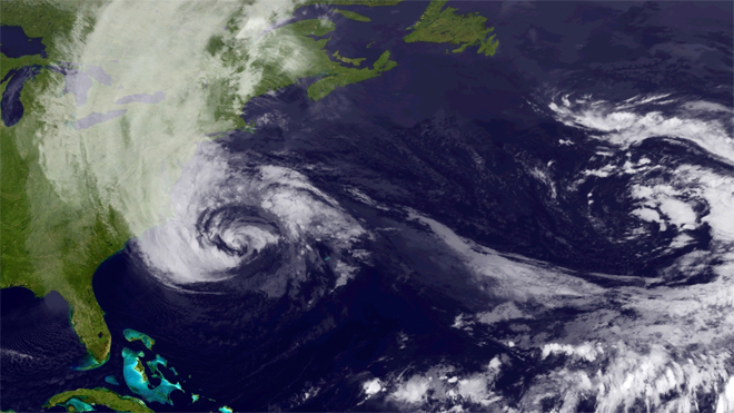 Hurricane Sandy -- East Coast View -- Mon 716AMET