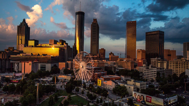 Atlanta, Gerogia, city, skyline, ferris wheel