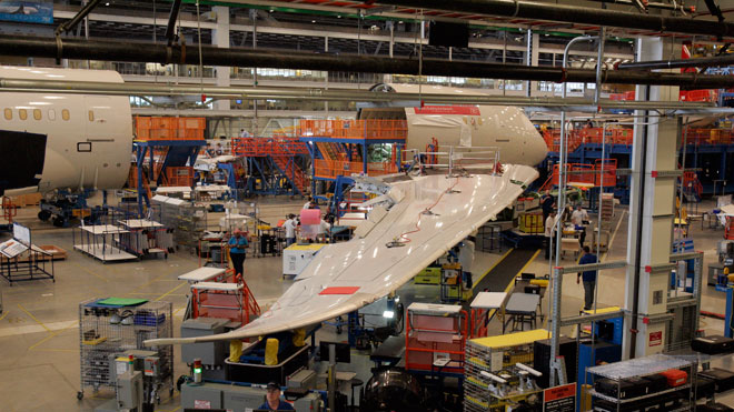 Boeing, Dreamliner, assembly line, durable goods, gross domestic, GDP, manufacturing