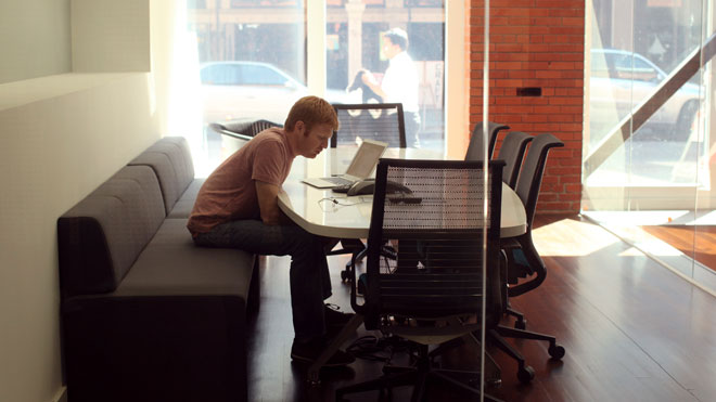 employee, worker, conferance call, table, computer, office, freelance, telecommute