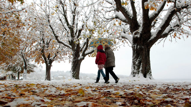 couple, fall, autumn, walking, weather, snow, winter