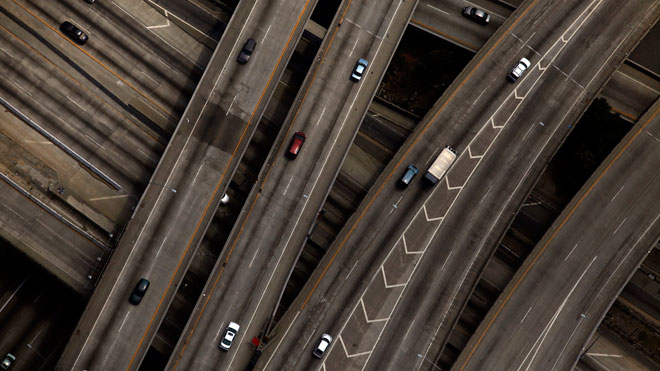 highway, cars, traffic, Los Angeles, interstate, road