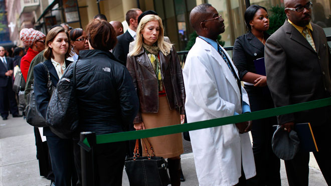 unemployed, people in line, crowd, street, job fair, unemployment line, jobless