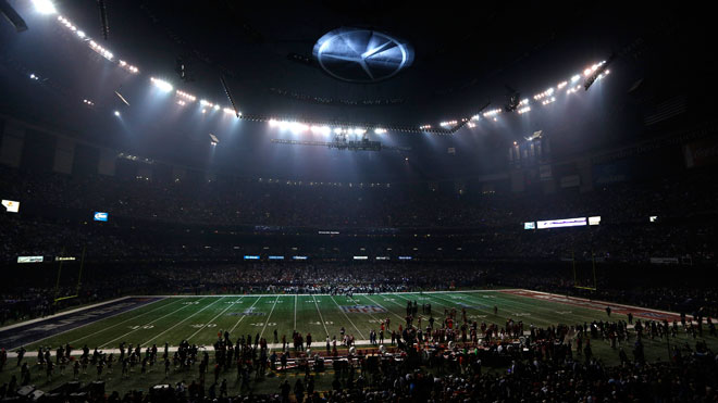 Superdome field, superdome, football field
