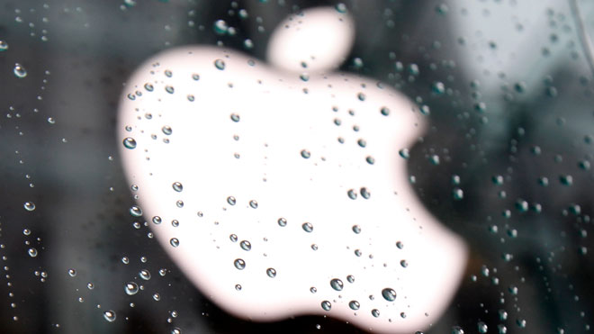 Apple Logo Seen Through Raindrops